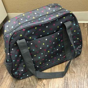 Thirty-One 31 Grey Polka Dot Duffel Diaper Bag new